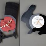 2 przykłady zegarów wykonany z plyty winylowej